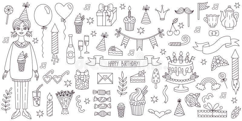 Birthday party symbols doodle line vector set vector illustration