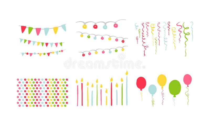 Birthday party symbols set, colorful carnival festive design elements with colorful balloons, flags, decorative ribbons vector illustration