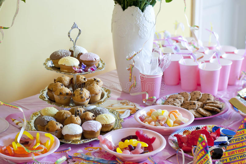 Birthday party table. For a girl stock images