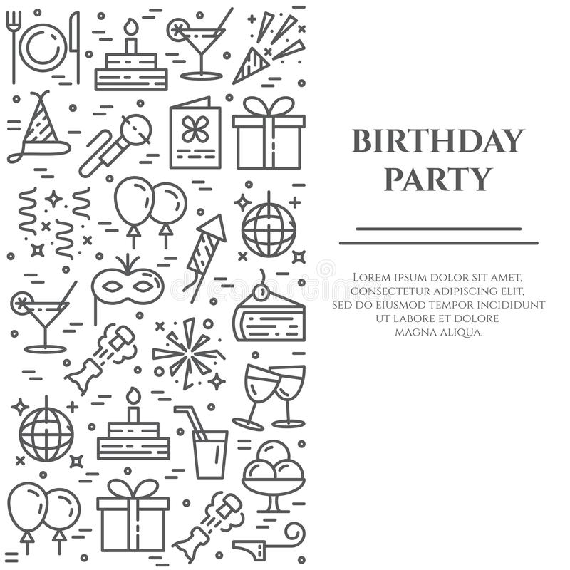 Birthday party theme banner consisting of line icons with editable stroke in form of rectangle. vector illustration