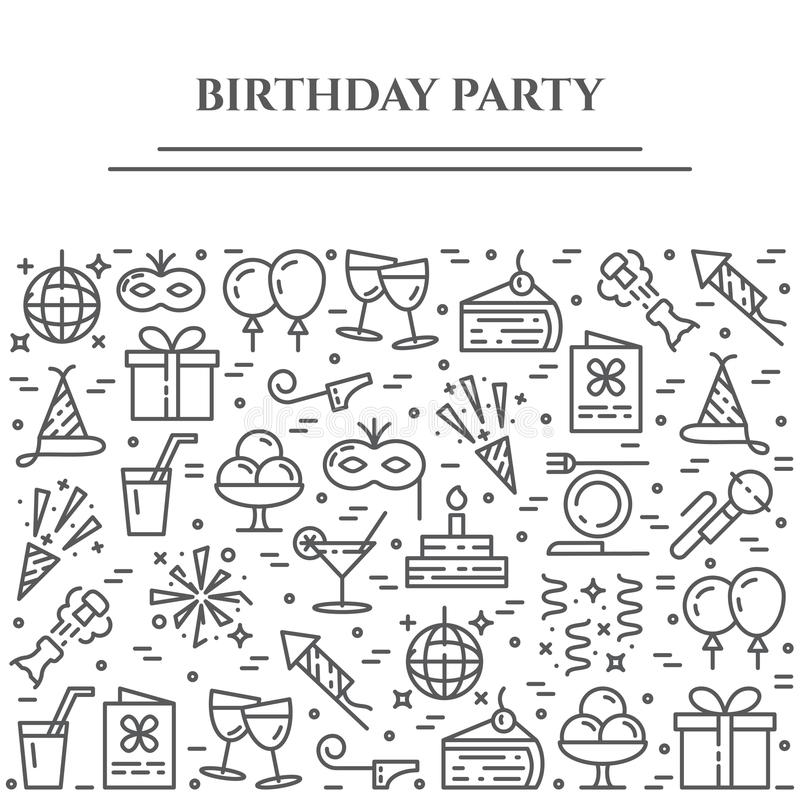 Birthday party theme horizontal banner. Set of elements of cake, present, champagne, disco, firework and other entertainment relat. Birthday party theme royalty free illustration