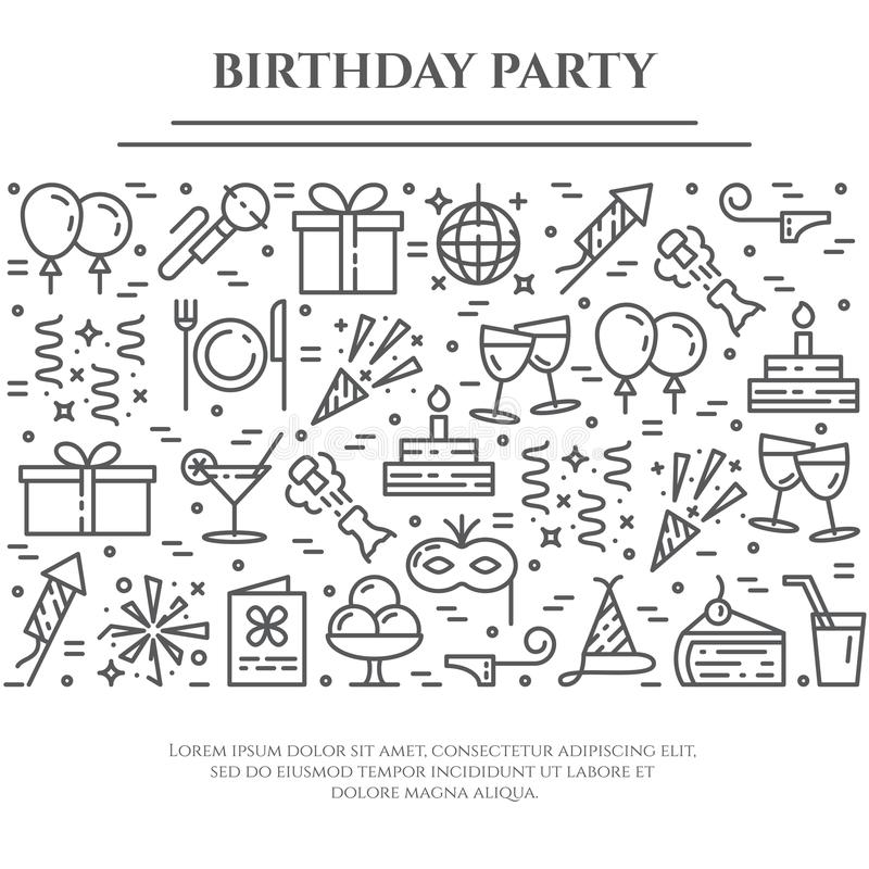 Birthday party theme horizontal banner. Set of elements of cake, present, champagne, disco, firework and other stock illustration