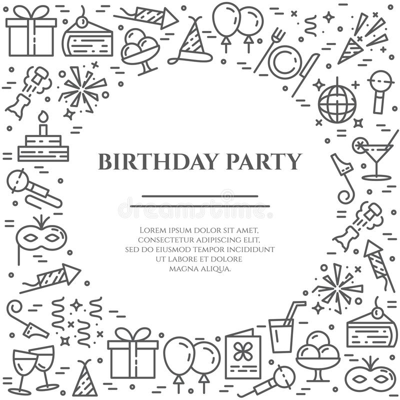 Birthday party theme horizontal banner. Set of elements of cake, present, champagne, disco, firework and other royalty free illustration