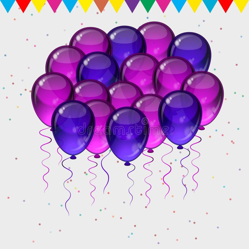 Birthday party vector background - colorful festive balloons, confetti, ribbons flying for celebrations card in isolated white. Birthday party vector background royalty free illustration