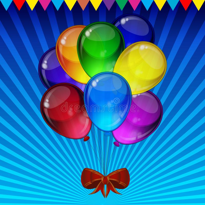 Birthday party vector background - colorful festive balloons, confetti, ribbons flying for celebrations card in isolated white. Background with space for you vector illustration