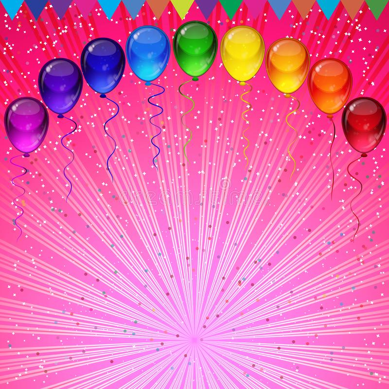 Birthday party vector background - colorful festive balloons, confetti, ribbons flying for celebrations card in isolated white. Background with space for you royalty free illustration