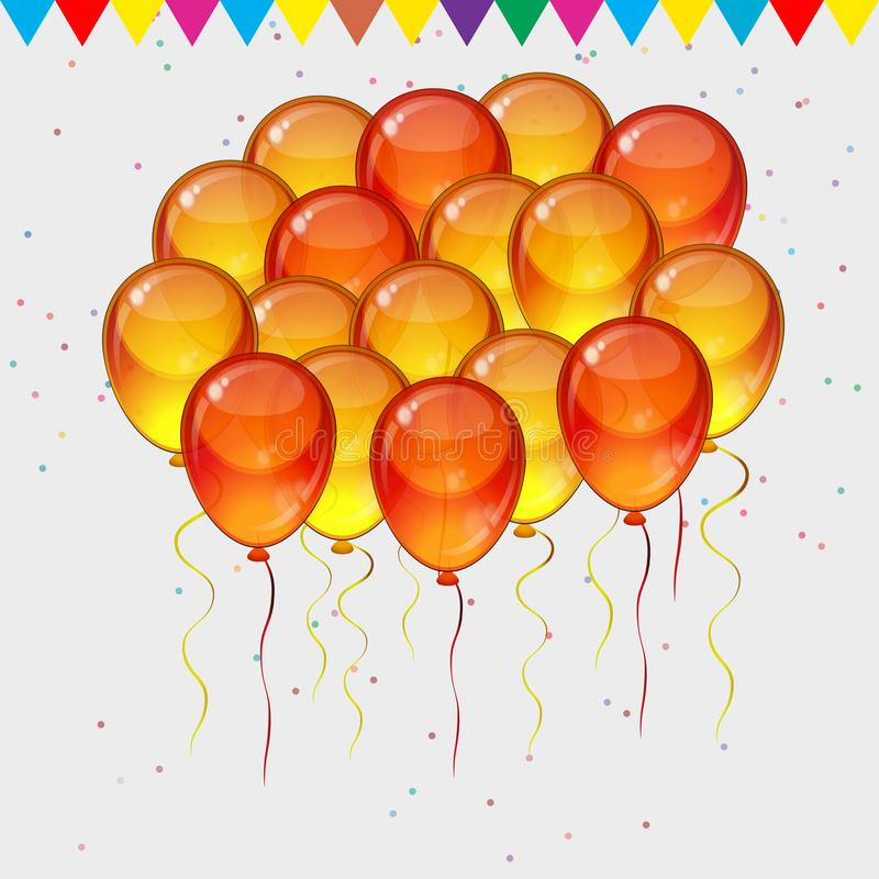 Birthday party vector background - colorful festive balloons, confetti, ribbons flying for celebrations card in isolated white. Birthday party vector background stock illustration