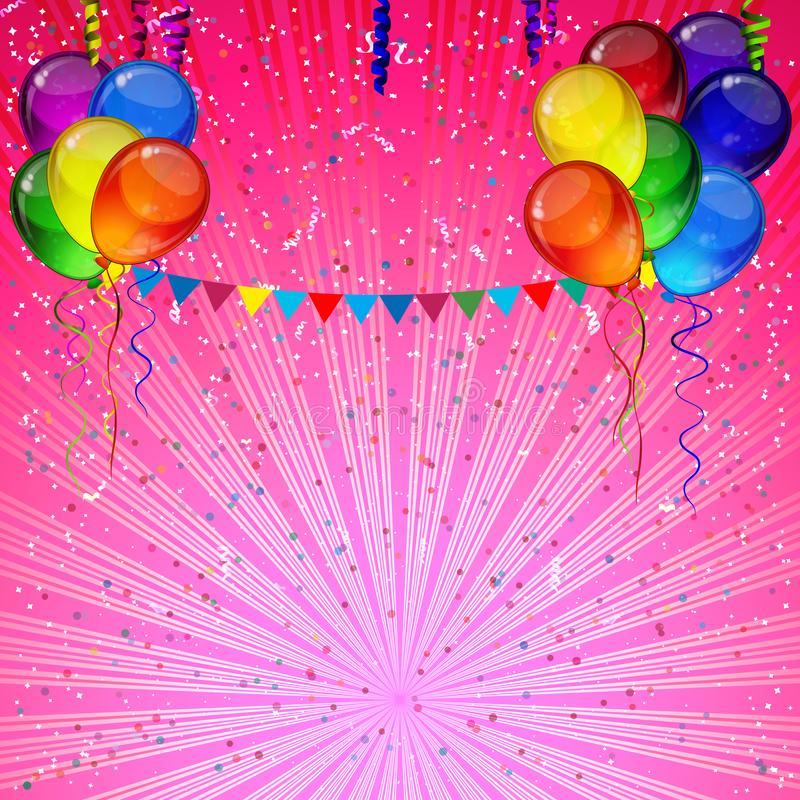 Birthday party vector background - colorful festive balloons, confetti, ribbons flying for celebrations card in isolated white. Background with space for you stock illustration