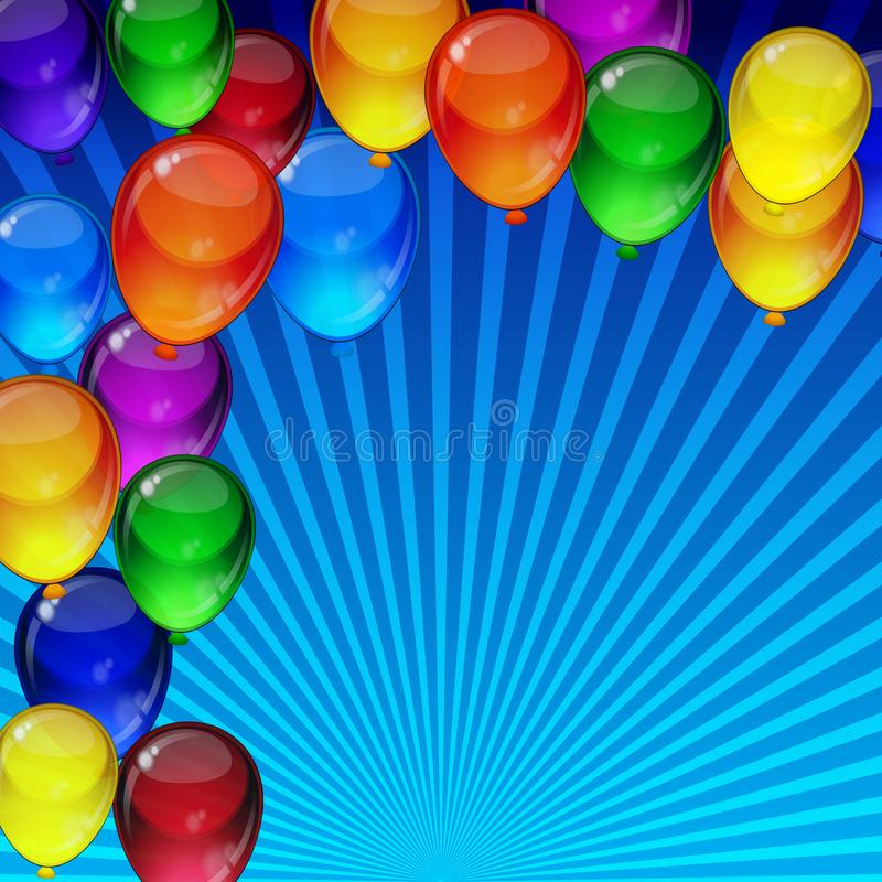Birthday party vector background - colorful festive balloons flying for celebrations card in blue rays backdrop with space for you. Text royalty free illustration