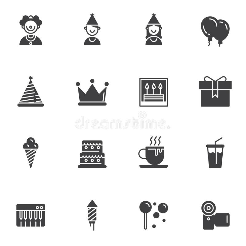 Birthday party vector icons set vector illustration