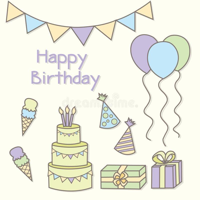 Happy Birthaday Card Stock Illustration Illustration Of