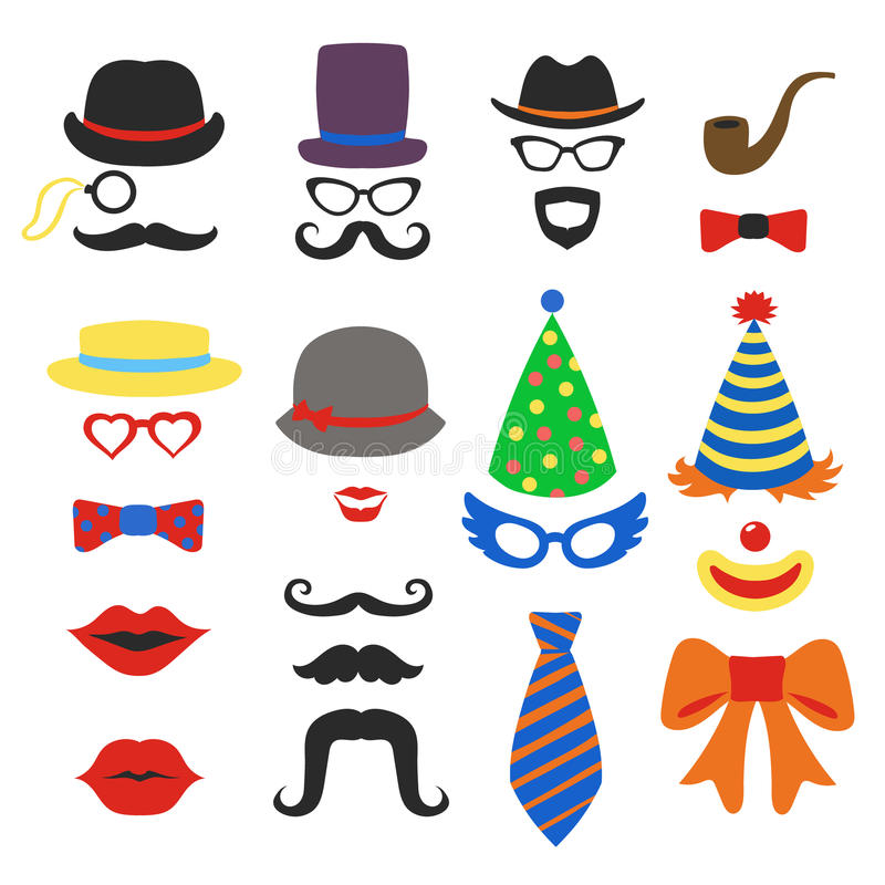 Birthday party vector photo booth props. Glasses, hats, lips, mustaches, ties and pipe photo booth, scrapbook in vector royalty free illustration