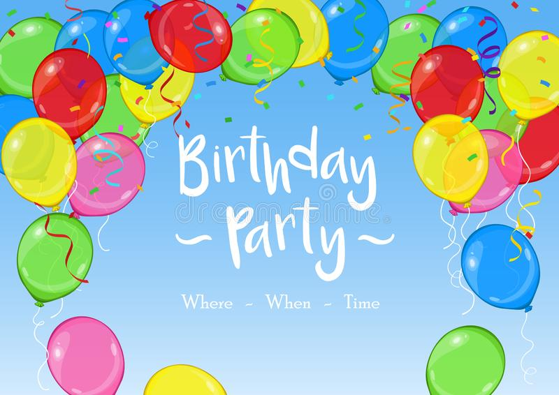 Birthday party vector template with balloons, confetti and streamers on blue sky background royalty free illustration