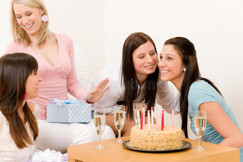 Birthday party - woman getting present stock image