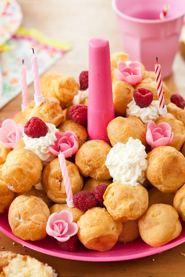Birthday pastries. Puff cakes as a birthday treat royalty free stock photography