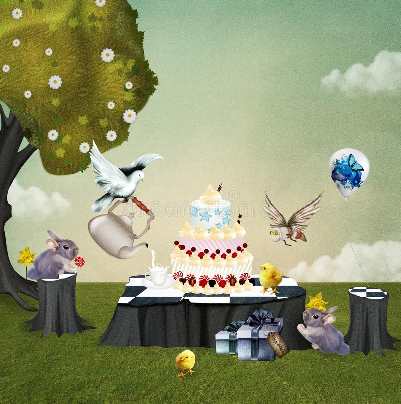 Download Birthday picnic stock illustration. Image of gifts, insect - 28741941