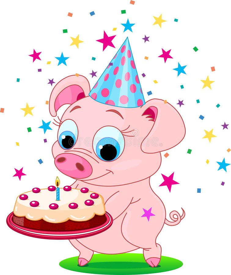 Birthday_pig illustration libre de droits