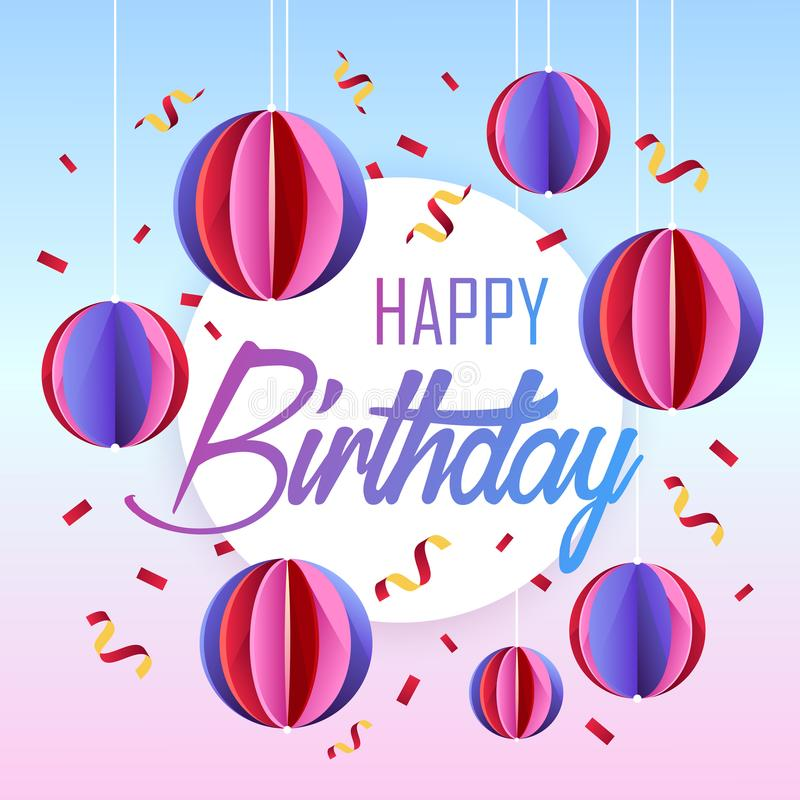 Birthday postcard. beautiful colorful banner. Colored balls royalty free illustration