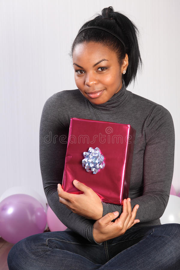 Download Birthday Present For Young African American Girl Stock Photo - Image: 18346096