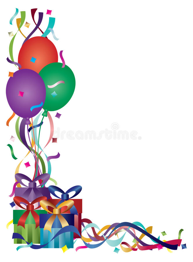 Birthday Presents with Ribbons and Confetti stock illustration