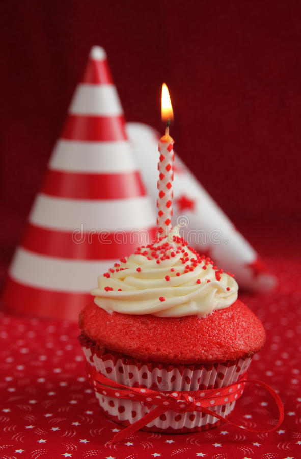 Birthday Red Velvet Cupcake Royalty Free Stock Image