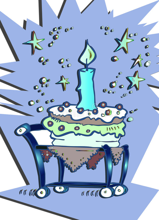 Download Happy Birthday Candle Cake Cartoon Stock Illustration - Image: 12836830