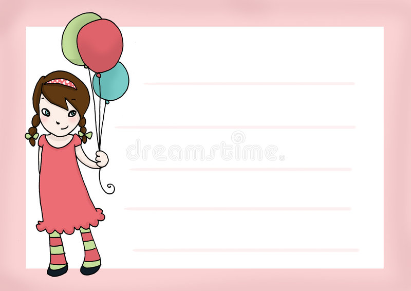 Download Birthday's girl card stock illustration. Image of smile - 9080204
