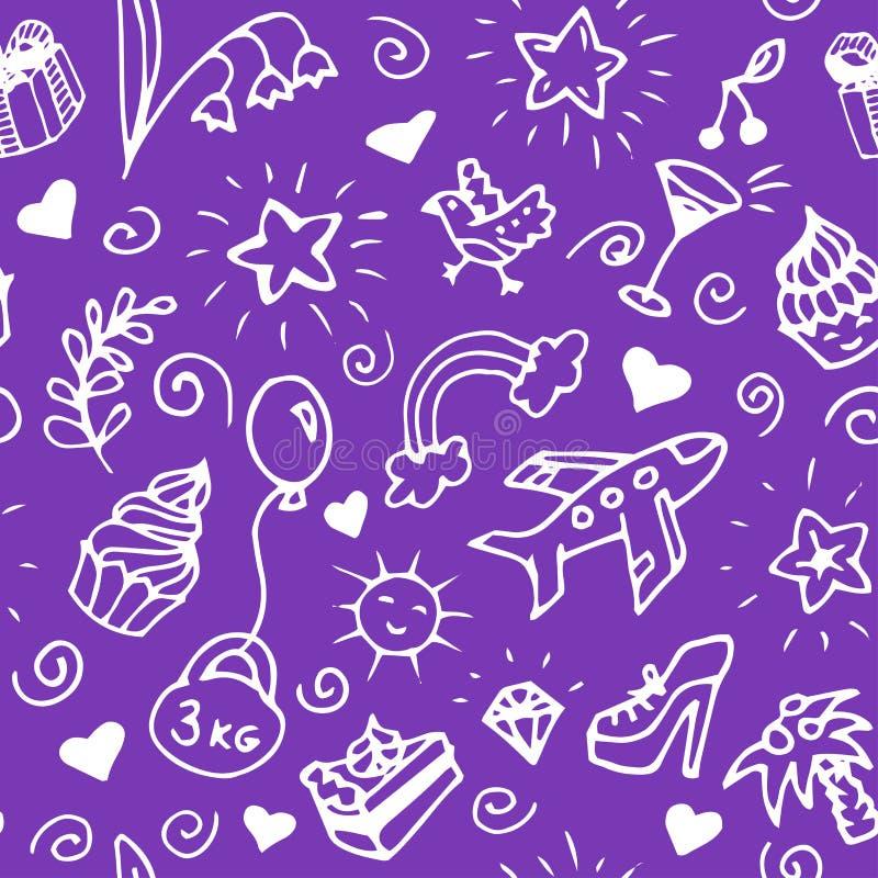 Birthday seamless handdrawn pattern, doodle. royalty free illustration