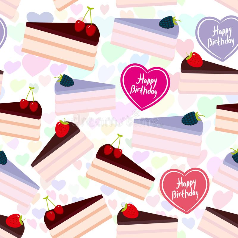 Birthday seamless pattern design Sweet cake decorated with fresh berry, pink cream and chocolate icing, piece of cake, heart, past. El colors lilac background stock illustration