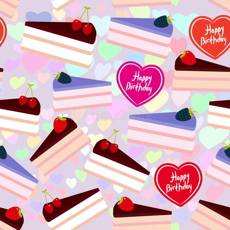 Birthday seamless pattern design Sweet cake decorated with fresh berry, pink cream and chocolate icing, piece of cake, heart, past. El colors on lilac background royalty free illustration