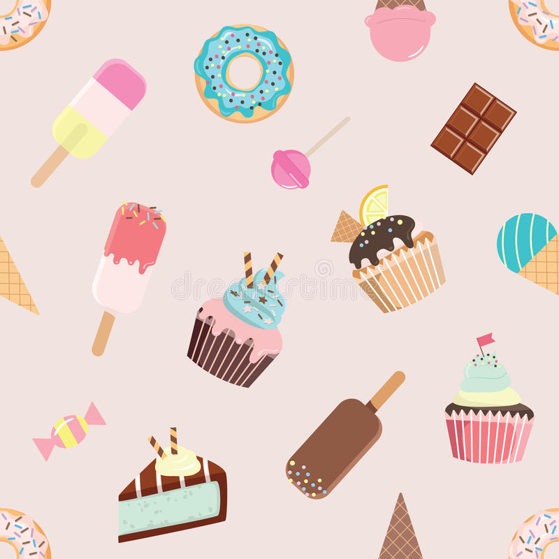 Birthday seamless pattern with different sweets. royalty free illustration