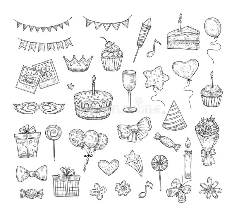 Birthday sketch. Happy birthday celebration party hand drawn items. Cake kids holiday doodle art drawing vector elements stock illustration