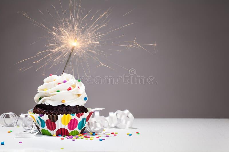 Birthday Sparkler Cupcake royalty free stock image