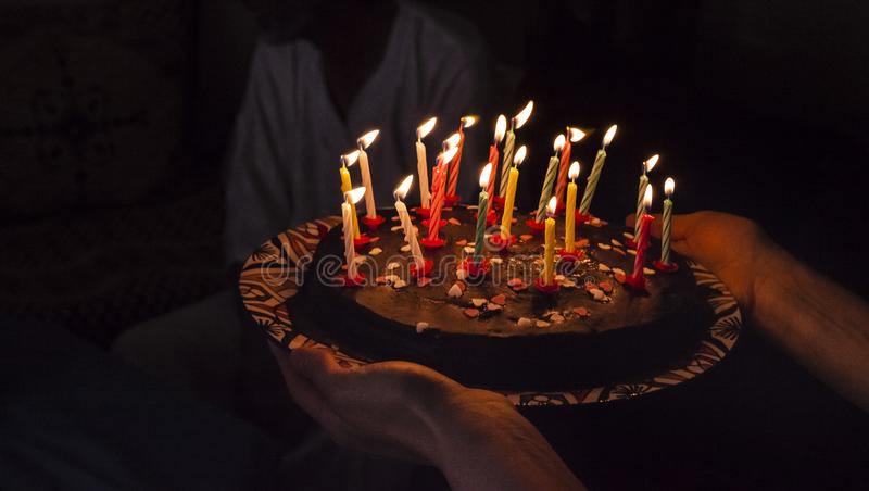 Fabulous Birthday Surprise Cake With Candles In Darkness Stock Photo Funny Birthday Cards Online Elaedamsfinfo