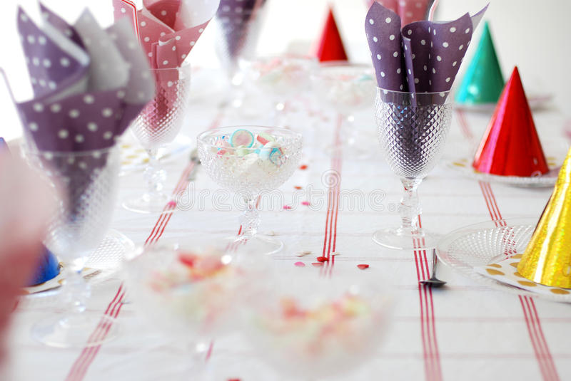 Birthday table. A table set for a birthday party royalty free stock image