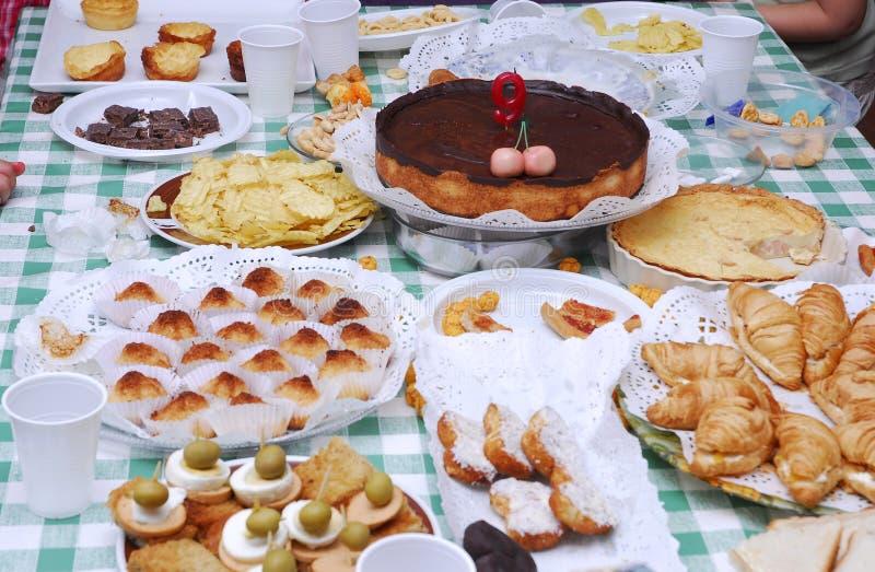 Birthday table stock photography