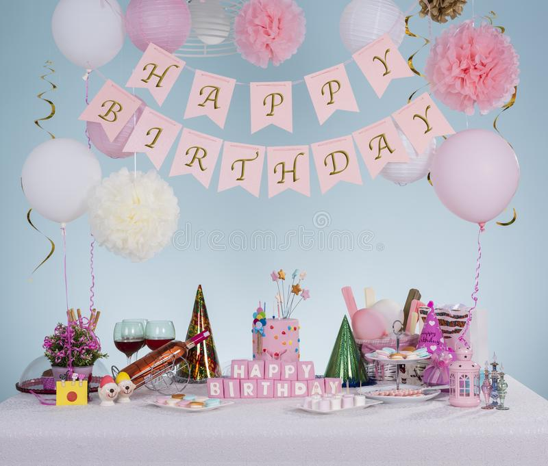 Birthday decorations and concept royalty free stock photos