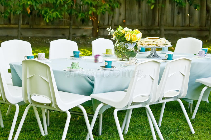 Birthday table in a park ready for kids stock image