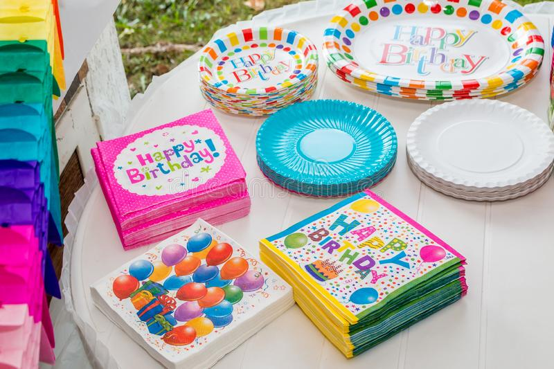 Birthday table served with disposable tableware royalty free stock image