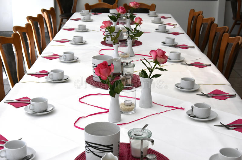 Birthday table setting. Breakfast table setting for a birthday party royalty free stock image