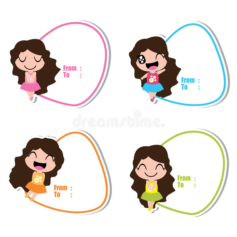 Birthday Tag With Cute Girls On Colorful Frames Cartoon Stock Vector ...
