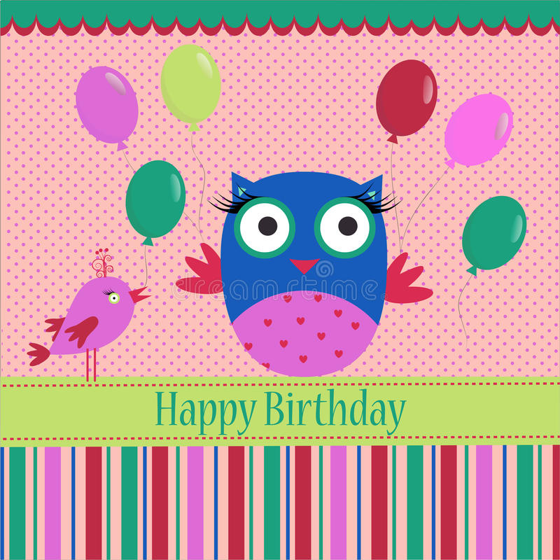 Birthday Template greeting card. Birthday template with colorful owl, bird and bubbles on a spotted background for your greeting card stock illustration