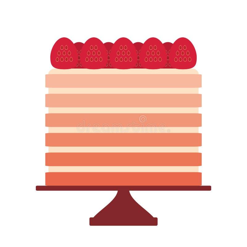 Birthday, valentines day, wedding, engagement. Sweet cake, strawberry cream, Cake Stand, pastel colors isolated on white backgro stock illustration