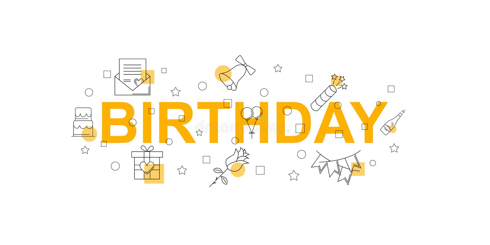 Birthday vector banner. Word with line icon. Vector background stock illustration