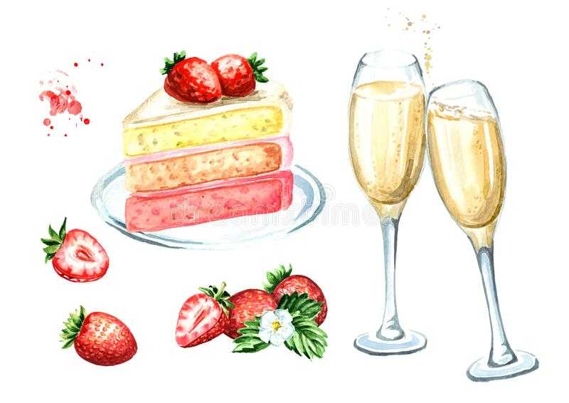 Birthday or wedding set. Strawberry cake with champagne glasses. Watercolor hand drawn illustration, isolated on white background. stock image