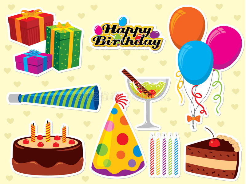 Birthday wishes. Happy Birthday set. Use to create greeting cards and party invitations. Please visit my portfolio for similar images vector illustration