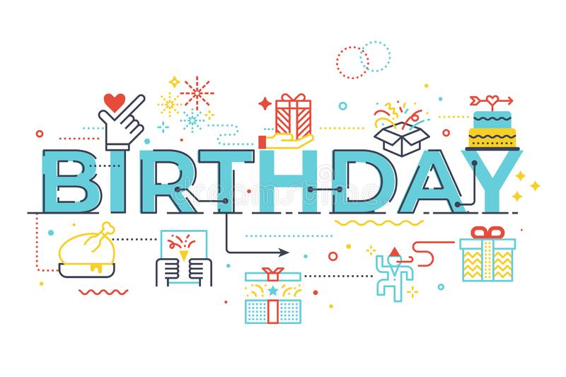 Birthday word lettering illustration. With icons for web banner, flyer, landing page, presentation, book cover, article, etc vector illustration
