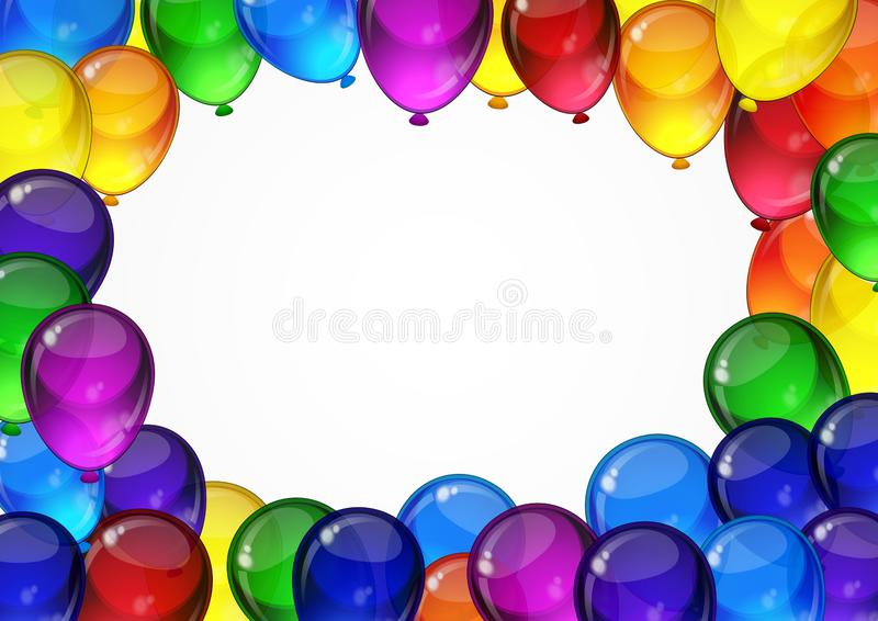 BirthdayColorful festive vector balloons on a white background for celebration, holiday, birthday party card with space for you. Colorful festive vector balloons royalty free illustration
