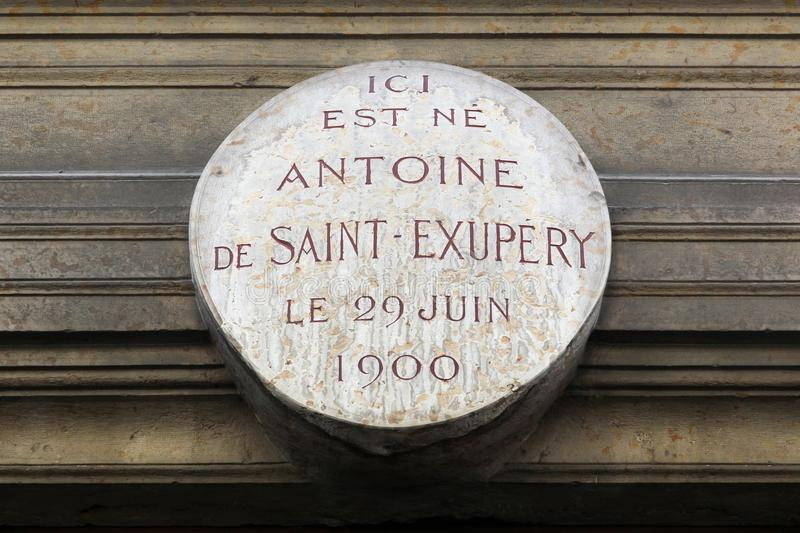 Birthplace of Antoine de Saint Exupery in Lyon, France. Lyon, France - May 26, 2017: Here is born Antoine de Saint Exupery the 29th of june 1900 in French stock photo