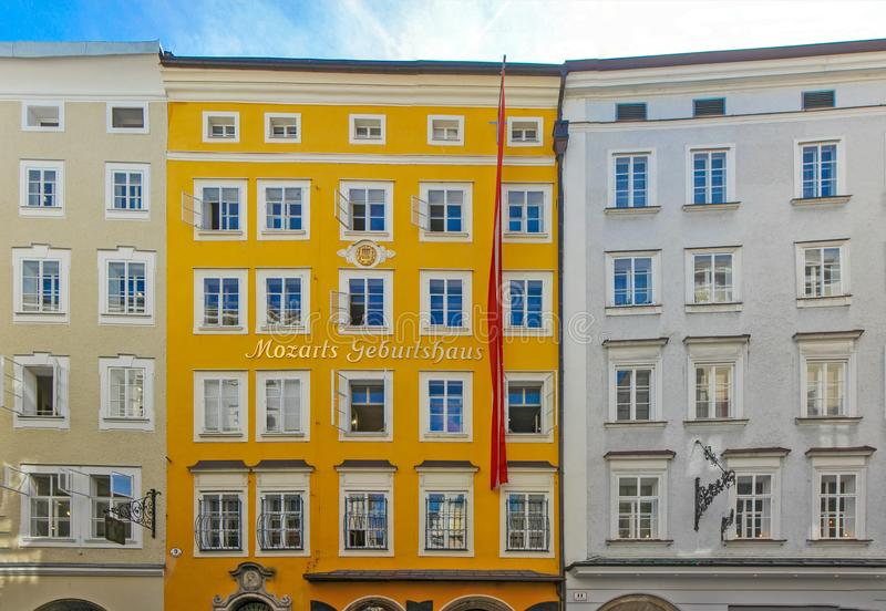 Birthplace of Wolfgang Amadeus Mozart in Salzburg, Austria royalty free stock images